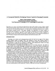 A Conceptual Model for Developing Venture Capital in Emerging Economies