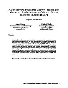 A CONCEPTUAL STAGES OF GROWTH MODEL FOR MANAGING AN ORGANISATION S SOCIAL MEDIA BUSINESS PROFILE (SMBP)
