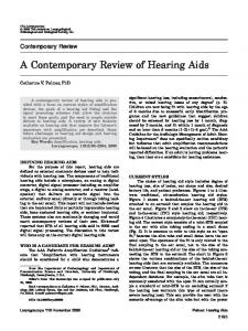 A Contemporary Review of Hearing Aids