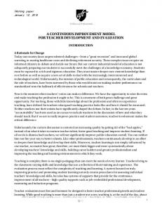 A CONTINUOUS IMPROVEMENT MODEL FOR TEACHER DEVELOPMENT AND EVALUATION