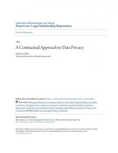 A Contractual Approach to Data Privacy