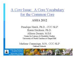 A Core Issue: A Core Vocabulary for the Common Core