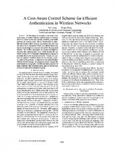 A Cost-Aware Control Scheme for Efficient Authentication in Wireless Networks