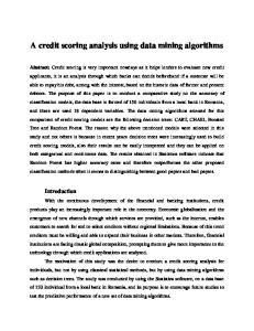 A credit scoring analysis using data mining algorithms
