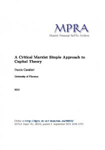A Critical Marxist Simple Approach to Capital Theory