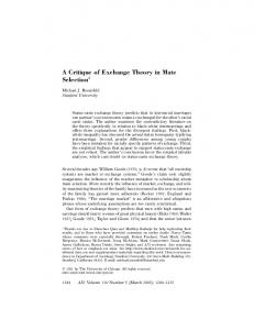 A Critique of Exchange Theory in Mate Selection 1
