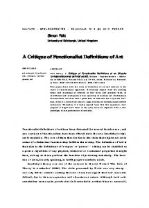 A Critique of Functionalist Definitions of Art