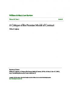 A Critique of the Promise Model of Contract