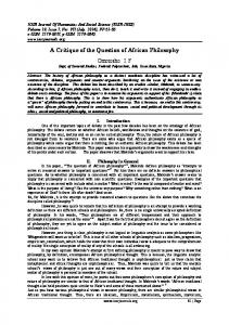 A Critique of the Question of African Philosophy