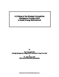 A Critique of the Strategic Competitive Intelligence Process within a Global Energy Multinational