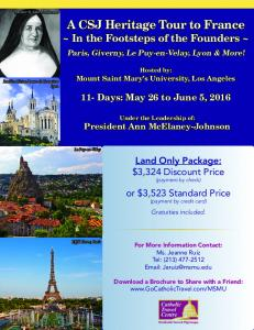 A CSJ Heritage Tour to France ~ In the Footsteps of the Founders ~