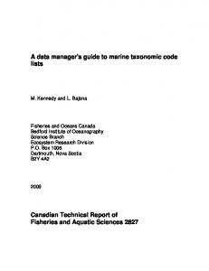 A data manager's guide to marine taxonomic code lists