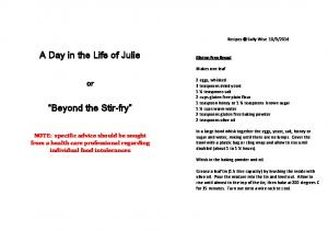 A Day in the Life of Julie. Beyond the Stir-fry