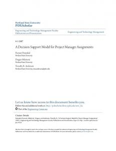 A Decision Support Model for Project Manager Assignments