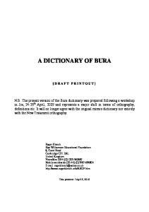 A DICTIONARY OF BURA