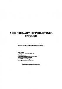 A DICTIONARY OF PHILIPPINES ENGLISH