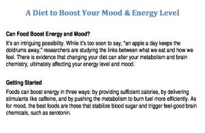 A Diet to Boost Your Mood & Energy Level