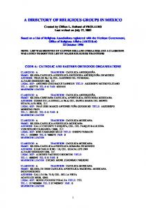 A DIRECTORY OF RELIGIOUS GROUPS IN MEXICO