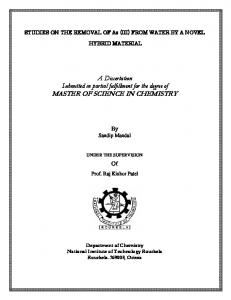 A Dissertation Submitted in partial fulfillment for the degree of MASTER OF SCIENCE IN CHEMISTRY