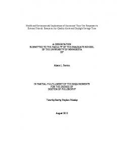 A DISSERTATION SUBMITTED TO THE FACULTY OF THE GRADUATE SCHOOL OF THE UNIVERSITY OF MINNESOTA BY. Alison L. Sexton