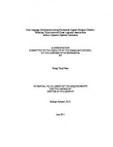 A DISSERTATION SUBMITTED TO THE FACULTY OF THE GRADUATE SCHOOL OF THE UNIVERSITY OF MINNESOTA BY. Giang Thuy Pham
