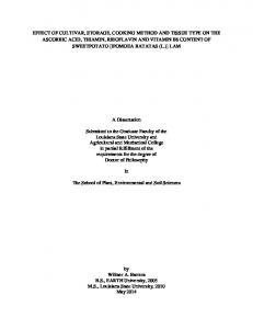 A Dissertation. The School of Plant, Environmental and Soil Sciences