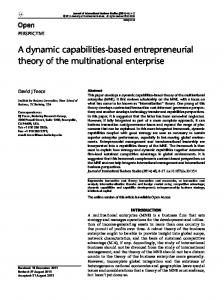 A dynamic capabilities-based entrepreneurial theory of the multinational enterprise