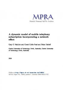 A dynamic model of mobile telephony subscription incorporating a network
