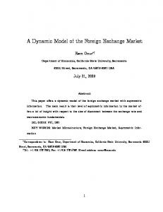 A Dynamic Model of the Foreign Exchange Market