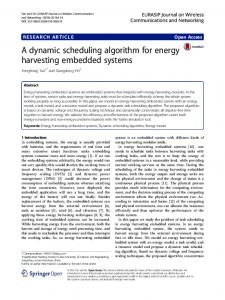 A dynamic scheduling algorithm for energy harvesting embedded systems
