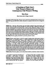 A Feminism of Their Own?: Irish Women s History and Contemporary Irish Women s Writing