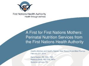A First for First Nations Mothers: Perinatal Nutrition Services from the First Nations Health Authority