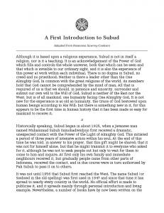 A First Introduction to Subud