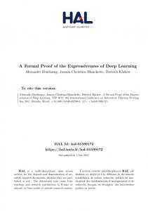 A Formal Proof of the Expressiveness of Deep Learning