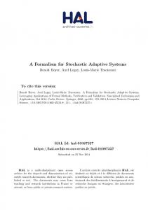 A Formalism for Stochastic Adaptive Systems