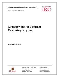 A Framework for a Formal Mentoring Program