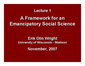 A Framework for an Emancipatory Social Science