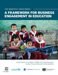 A FRAMEWORK FOR BUSINESS ENGAGEMENT IN EDUCATION
