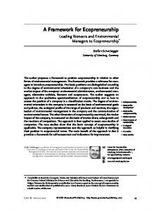 A Framework for Ecopreneurship