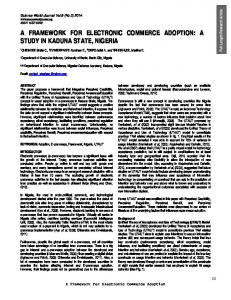 A FRAMEWORK FOR ELECTRONIC COMMERCE ADOPTION: A STUDY IN KADUNA STATE, NIGERIA