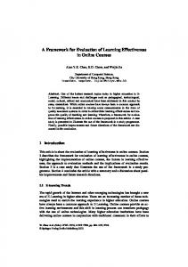 A Framework for Evaluation of Learning Effectiveness in Online Courses