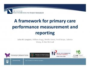 A framework for primary care performance measurement and reporting