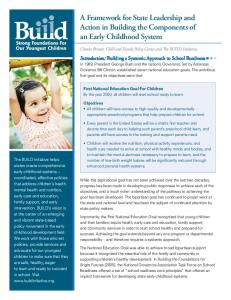 A Framework for State Leadership and Action in Building the Components of an Early Childhood System