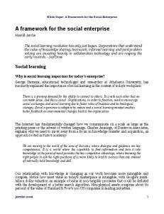 A framework for the social enterprise