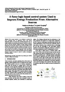 A fuzzy logic based control system Used to Improve Energy Production From Alternative Sources