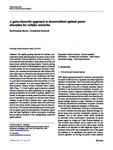 A game-theoretic approach to decentralized optimal power allocation for cellular networks