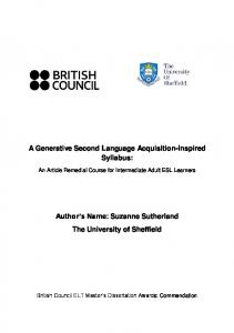 A Generative Second Language Acquisition-Inspired Syllabus: