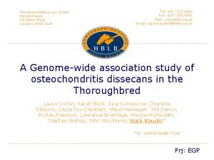 A Genome-wide association study of osteochondritis dissecans in the Thoroughbred