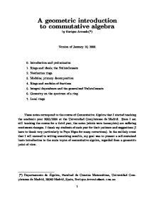 A geometric introduction to commutative algebra