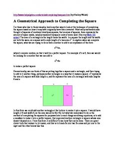 A Geometrical Approach to Completing the Square